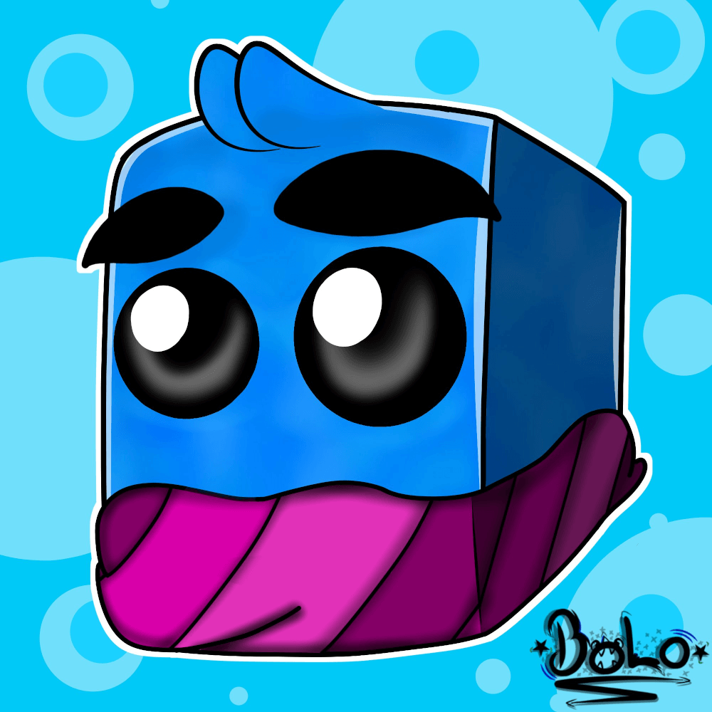 Fan art showing the head of IJAMinecraft's Minecraft skin, which is blue with two large, reflective black eyes, no nose, and a mouth hidden by a purple scarf around the lower part of the head